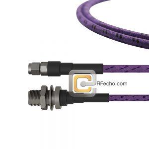 N Female Bulkhead to SMA Male LL142 Coax and RoHS F038-290S1-321S0-180-C