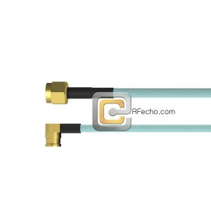 Right Angle Mini SMP Female to SMA Male OM-086 Coax and RoHS F018-280R0-321S0-265-N