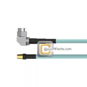 Mini SMP Female to Right Angle SMA Male OM-086 Coax and RoHS F018-280S0-321R0-265-N
