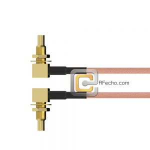 Right Angle SSMC Jack Bulkhead to Right Angle SSMC Jack Bulkhead RG178 Coax and RoHS F074-380R1-380R1-30-N