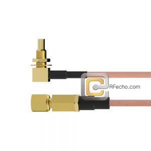 Right Angle SSMC Jack Bulkhead to SSMC Plug RG178 Coax and RoHS F074-380R1-381S0-30-N