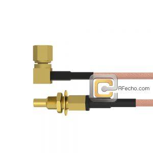 SSMC Jack Bulkhead to Right Angle SSMC Plug RG178 Coax and RoHS F074-380S1-381R0-30-N