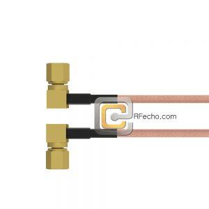 Right Angle SSMC Plug to Right Angle SSMC Plug RG178 Coax and RoHS F074-381R0-381R0-30-N