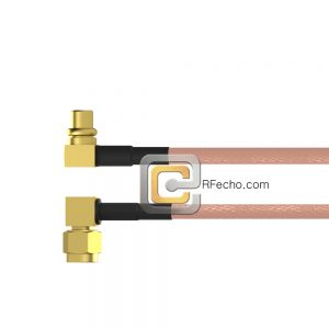 Right Angle MCX Plug to Right Angle SMA Male RG-316 Coax and RoHS F065-251R0-321R0-30-N