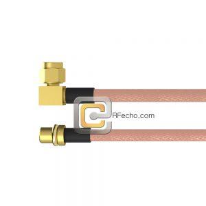 MMCX Plug to Right Angle SMC Plug RG-316 Coax and RoHS F065-271S0-341R0-30-N