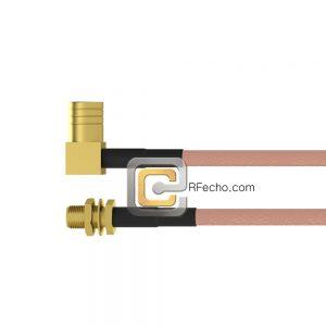 SMA Female Bulkhead to Right Angle Push On SMB Male RG-316 Coax and RoHS F065-320S1-331R0-30-N-01