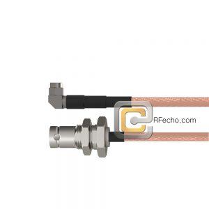 Right Angle SMA Male to BNC Female Bulkhead RG-316 Coax and RoHS F065-321R0-220S1-30-N