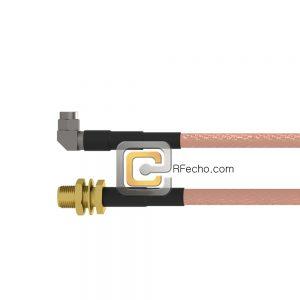 Right Angle SMA Male to SMA Female Bulkhead RG-316 Coax and RoHS F065-321R0-320S1-30-N