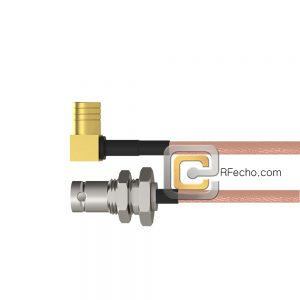 Right Angle SMB Plug to BNC Female Bulkhead RG-316 Coax and RoHS F065-331R0-220S1-30-N