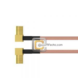 Right Angle Push On SMB Male to SMA Female Bulkhead RG-316 Coax and RoHS F065-331R0-320S1-30-N-10