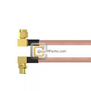 Right Angle SMC Plug to Right Angle MMCX Plug RG-316 Coax and RoHS F065-341R0-271R0-30-N