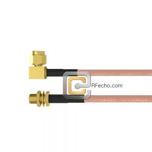Right Angle SMC Male to SMA Female Bulkhead RG-316 Coax and RoHS F065-341R0-320S1-30-N