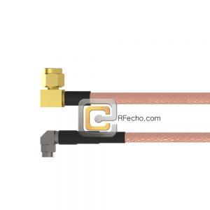 Right Angle SMC Plug to Right Angle SMA Male RG-316 Coax and RoHS F065-341R0-321R0-30-N