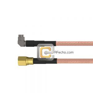 SMC Plug to Right Angle SMA Male RG-316 Coax and RoHS F065-341S0-321R0-30-N