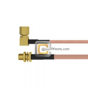 Right Angle SSMC Plug to SMA Female Bulkhead RG-316 Coax and RoHS F065-381R0-320S1-30-N