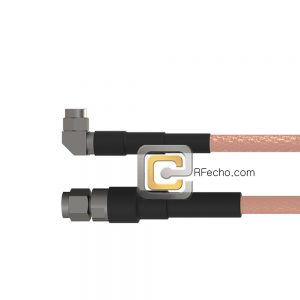 Right Angle SMA Male to SMA Male RG-58 Coax and RoHS F070-321R0-321S0-50-N